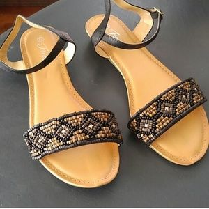 Shoes - Black and Brown wood beaded sandals